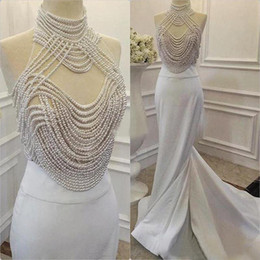 Wholesale China Plus Size Evening Gowns - Gorgeous 2016 White Stain High Neck Pearls Evening Dresses Luxury Beading Sheer Long Formal Prom Party Gowns Custom Made China EN9202