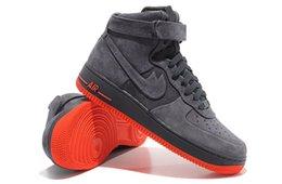 Wholesale 2016 Air HIGH VT PRM AF1 Mens Running Shoes Men High Cut Skateboarding Airforce Sneaker Sports Trainers Air Shoes Coal Black Eur