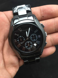Wholesale Free HK Shipping _Absolute luxury Mens Ceramic Black Chronograph Dial Quartz Watch AR1400 Gents Wristwatch Gift Box Best Quality
