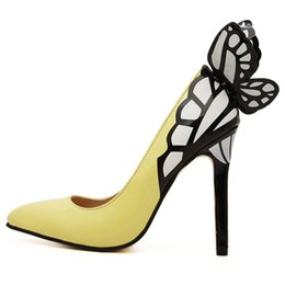 wholesale2016 Europe and the United States vampire diaries female butterfly wings pointed high-heeled shoes black yellow top 35-41 size