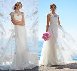 2017 Illusion Cap Sleeve Beach Wedding Dresses Romantic Flower Lace A Line Bridal Gowns Custom Made Floor Length Wedding Dresses