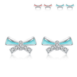 blue and pink colour design 925 sterling silver epoxy earring stud real jewelry 1 pieces wholesale