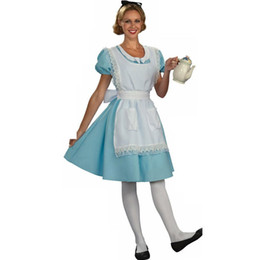 Alice In Wonderland Cosplay Maid Costume Alice Costume Women Adult Fantasy Women Sexy Blue Dress Halloween Costumes