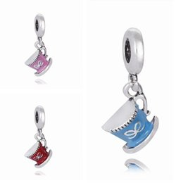 Silver Plated Coffee cup pendant Bead European Jewelry Charm Fits for Pandora Bead Women Bracelet Enamel Charm love hope ribbon beads