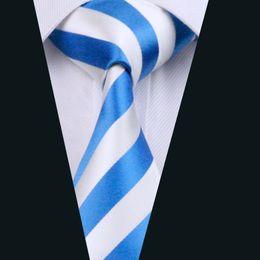 Summer Style Blue Stripe Necktie for Men Jacquard Woven Silk Tie Business Party 8.5cm Width Necktie D-0415
