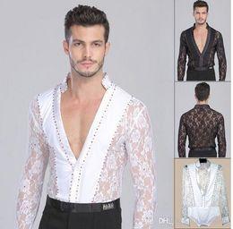 2018 Men Boy Performance Latin Dress Tops Diamond Lace Long Sleeve Dance Dress Ballroom Dance Competition Dresses Latin Tops Shirts