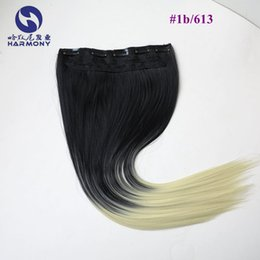 #1b 613 Color 5Clips Synthetic Hair Clip In Hair Extensions piece Silk Straight 24inch can flat iron and curl