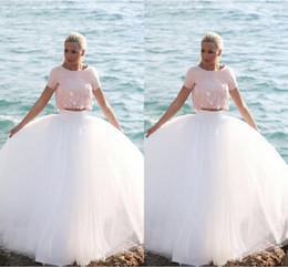 Two Pieces Short Sleeve Prom Dresses 2016 Pink And White Evening Gowns Applique Beads Tulle Ball Gown Tutu Skirt Formal Party Dresses