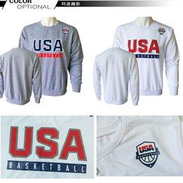 Wholesale 2016 NEW Autumn men Hoodies Casual sports Long sleeve sweatshirt USA BASKETBALL Team Hoodies White Fashion Streetwear Cheap