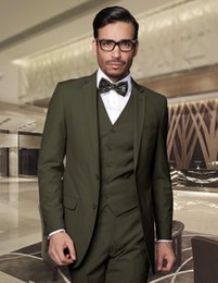 Unique Dark Green Groom Tuxedos For Wedding Men Wears Custom Made Notched Lapel Two Buttons Bridegroom Suits(Jacket+Pants+Vest)