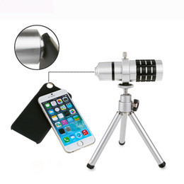 Wholesale-Top One 12x Telescope Zoom Lens with Tripod for Mobile Phone Telescope camera for Iphone 6 6S 4.7 Inch Mar25