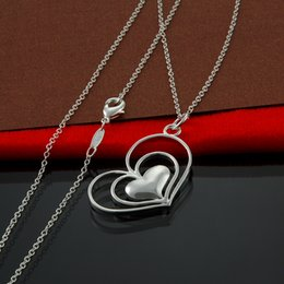 Factory direct wholesale and retail 925 sterling silver fine chain Heart in Heart Pendant Necklace Fashion Silver Necklace