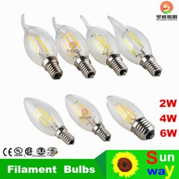 Wholesale led lights Edison Filament Dimmable Led Candle Lamp W W W E14 E12 Led Bulbs Light High Bright led lamp e27 candle light