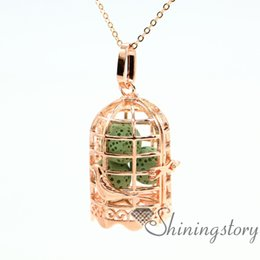 bird cage openwork essential oil jewelry essential oil necklace wholesale jewelry lockets aroma jewelry metal volcanic stone necklaces penda