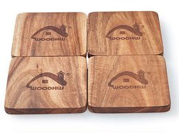 Wholesale American black walnut waterproof and hot cup mat Solid wood coasters laser pattern high quality mat