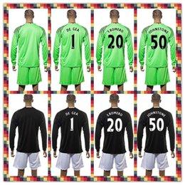 Wholesale Uniforms Kit Soccer Jersey Manchester De Gea Johnstone S Romero united Goalkeeper Black Green Long Sleeve Jersey