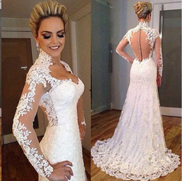 Vintage Lace Wedding Dresses Mermaid Style High Neck Illusion Sweep Train Wedding Gowns Back Covered Button Elegant Bridal Dress