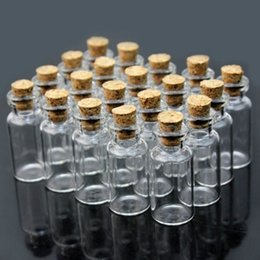 Wholesale glass bottles small glass vials with cork tops ml tiny bottles Little empty jars