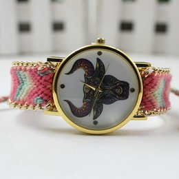 Wholesale Wholesales Best Deal New Women Bull Pattern Weaved Rope Band Bracelet Quartz Dial Wrist watch Lady Style Watches Colors