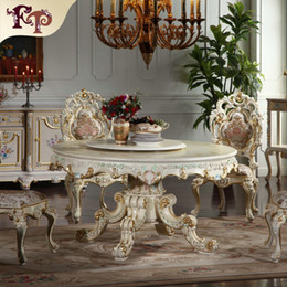 Wholesale European antique dining room furniture hand carved dining room set Italian style furniture classic round dining chair
