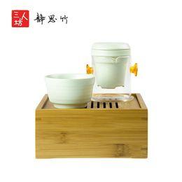 Wholesale Nature Bamboo made mini tea tray stored function kungfu tea tray Present tea sets