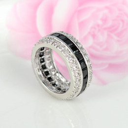 Newest Platinum plated with Austria white and black Cubic Zirconia crystal Rings for women suit Party and Engagement ring