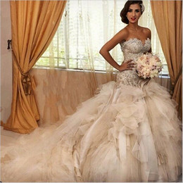Amazing Sparkly Beaded Mermaid Royal Princess Wedding Dresses 2019 Sweetheart Tiered Skirt Puffy Fish Tail Bridal Gowns