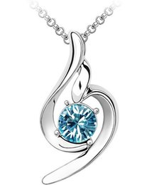 Wholesale JS N103 Necklace White Gold Plated Fashion Jewerly Classic Pendant Necklace Women Birthday And Christmas Gifts