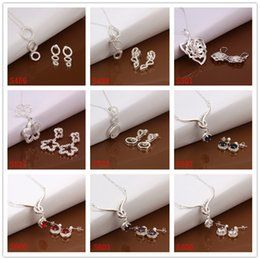 Wholesale Best gift women s gemstone sterling silver jewelry sets sets mixed style silver Necklace Earring jewelry set GTS19 factory direct sale