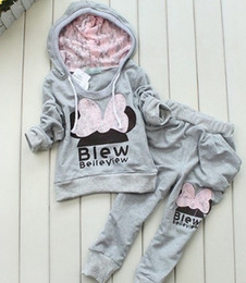 Wholesale Hug Me Girls Boys Baby Cothes Kids Suit Mickey Top Pants set Kids clothes New Autumn Winter palm pattern Pants AA