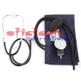 Wholesale by dhl or ems Aneroid Sphygmomanometer Blood Pressure Measure Device Kit Cuff Stethoscope