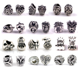 Wholesale S925 silver pandora charms for bracelets DIY jewlery making European big hole loose beads mixed pandora styles fashion jewelry bulk