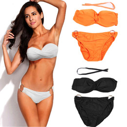 Sexy Women Retro Strapless Bikini Set Bandage Two Piece Swimwear Push Up Padded Swimsuit Beach Wear Bathing Suit