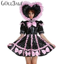 Wholesale Custom Made Adult Baby Sissy Maid Lockable PVC Sweet Heart Black Dress Uniform Crossdress Cosplay Costume
