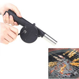 Wholesale New Outdoor Camping BBQ Fan Air Blower Hand Crank Powered for Picnic Barbecue Fire