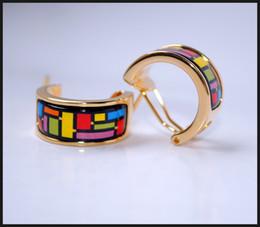 Mondrian Series Hoop earring 18K gold-plated enamel earrings for woman Top quality hoop earrings