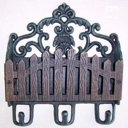 Wholesale Antique Cast Iron Paper Letter Rack Decorative Coat Hat Wall Hooks Holder Art Garden Home Wall Decoration Rural