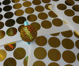 Wholesale 1000 pieces ONE SET mm diameter golden color round warranty laser hologram sticker label seal one time use only
