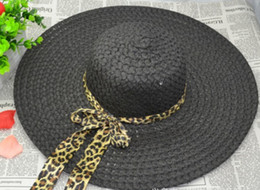 ladies Summer Wide Brim Hats bow ribbon along the beach hat straw hat sun hat large brimmed hat folding hat hollow