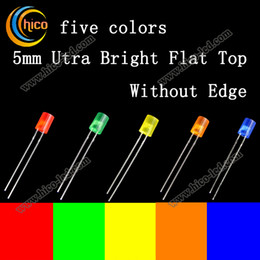 5mm led diodes Utra Bright Flat Top Without Edge led chip Colored Lens Red Green Blue White Yellow led bead free shipping