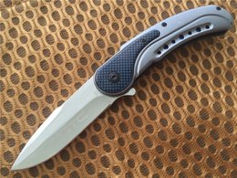 GTC F55 Blue 440C 56HRC EDC Pocket knife Favorites knife Hunting Knives Drop Point Plain Flipper Carbon Fiber with retail box Xmas gift