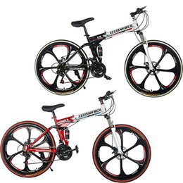 Wholesale Stock in USA Men Women inch Mountain Bicycle Folding Bikes Racing Double Suspension Foldable Cycle Cross country Sports School