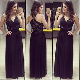 2016 Fancy New Black V-neck Chiffon Prom Dresses Unique Y-back Lace Beaded Ruched Full Length Summer Beach Cheap Evening Gowns