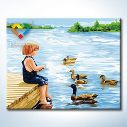 Wholesale Summer Riverside Wall Art DIY Painting Baby Toys x50cm Artistical Canvas Oil Painting Drawing Wall Art for Hotel Decoration with Green Acr
