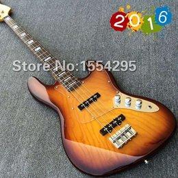 Wholesale New Arrival strings Electric Bass guitar with Transparent pickguard veneer Elm top Vintage Sunburst color