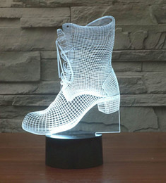 Novelty Design Boots Shape 3D Illusion LED Night light 7 Light Colors Table Lamp For Party Gift Children Bedroom Lamp Baby Toy