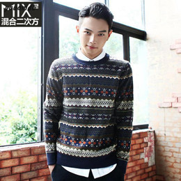 Wholesale-men Sweaters Fit size 2016 L-3XL Spring autumn brand clothing cotton man Jacquard stitching round neck sweater Sweaters y69