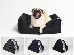 Pinco Navy Waterproof Tear-Resistant Bolster Cat Beds Dog Beds, Removable & Washable Cover and Extra Comfy Cotton-Padded