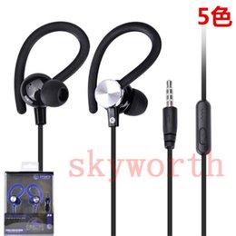 El bajo piso en venta-gancho del oído de los auriculares universales con los deportes de micrófono headset música bajo fuerte del en-oído para el iphone cable plano de teléfono móvil MP3 de Samsung