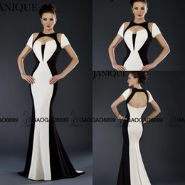 Wholesale Plunging Black And White Block Janique Mermaid Evening Formal Pageant Dresses Cutout Shoulders Long Trumpet Arabic Occasion Party Gown
